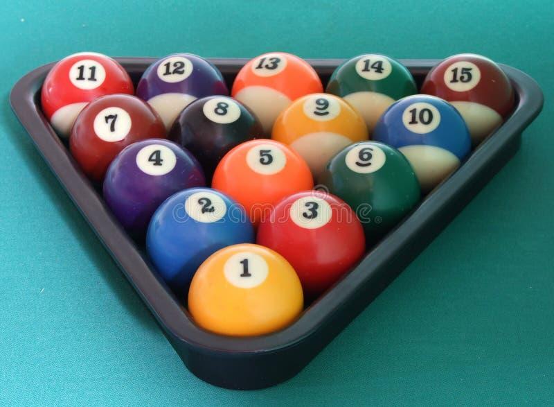 Billiard balls triangle royalty free stock photography
