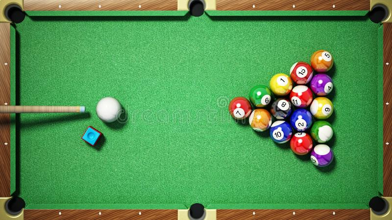 Billiard balls, triangle, chalk and cue on pool table. 3D illustration stock illustration