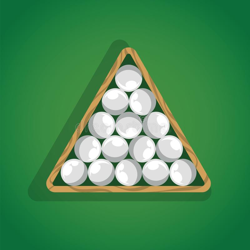Billiard balls in triangle on green pool table top view. White pool balls in triangle for billiard game. stock illustration
