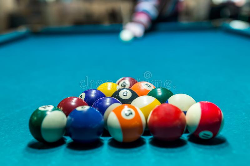 Billiard balls in triangle shape, ready to play.  royalty free stock photos