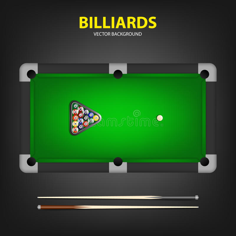 Billiard balls in triangle and two cues on a pool table. Vector EPS10 background stock illustration