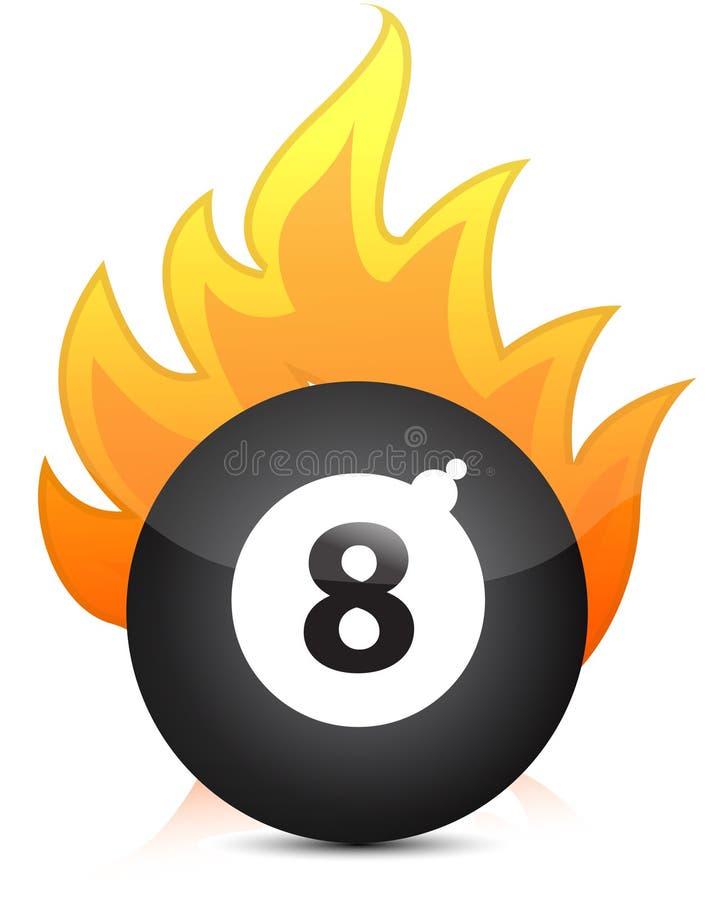 billiard balowy ogień osiem ilustracja wektor