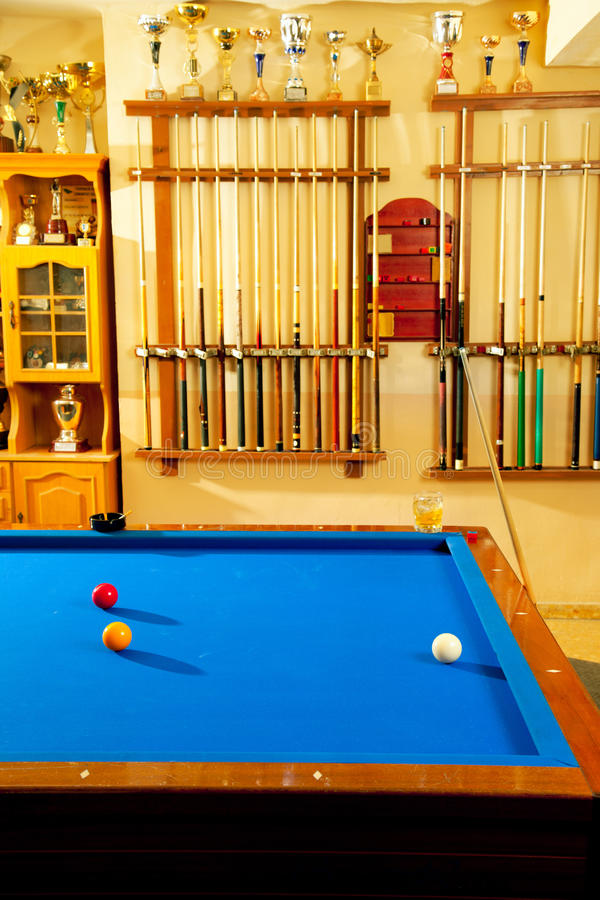 Download Billiard Club With Blue Pool Table Cue And Trophy Stock Photo - Image: 24159004