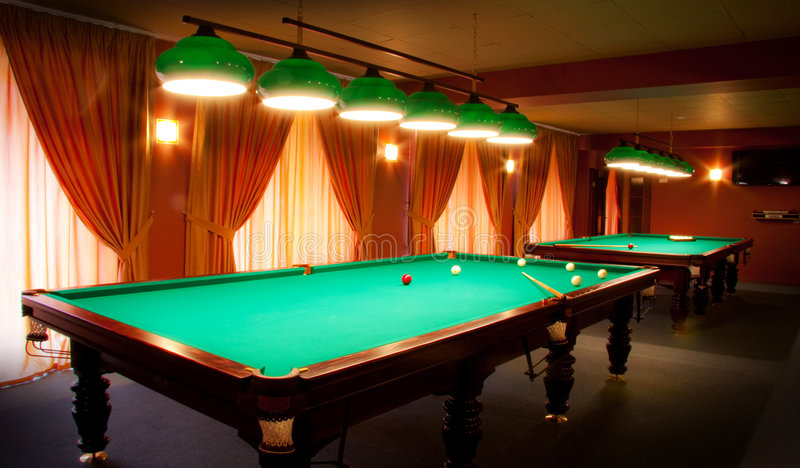 Billiard Club Having Interior Tables Στοκ Εικόνες