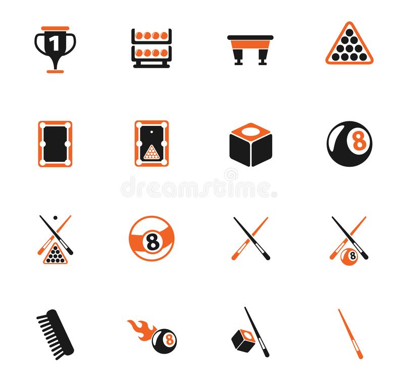 Billiard icon set. Billiard color vector icons for web and user interface design royalty free illustration