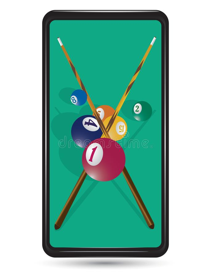 Billiard cue and pool balls on green table. While game. Wallpaper for Mobile vector illustration