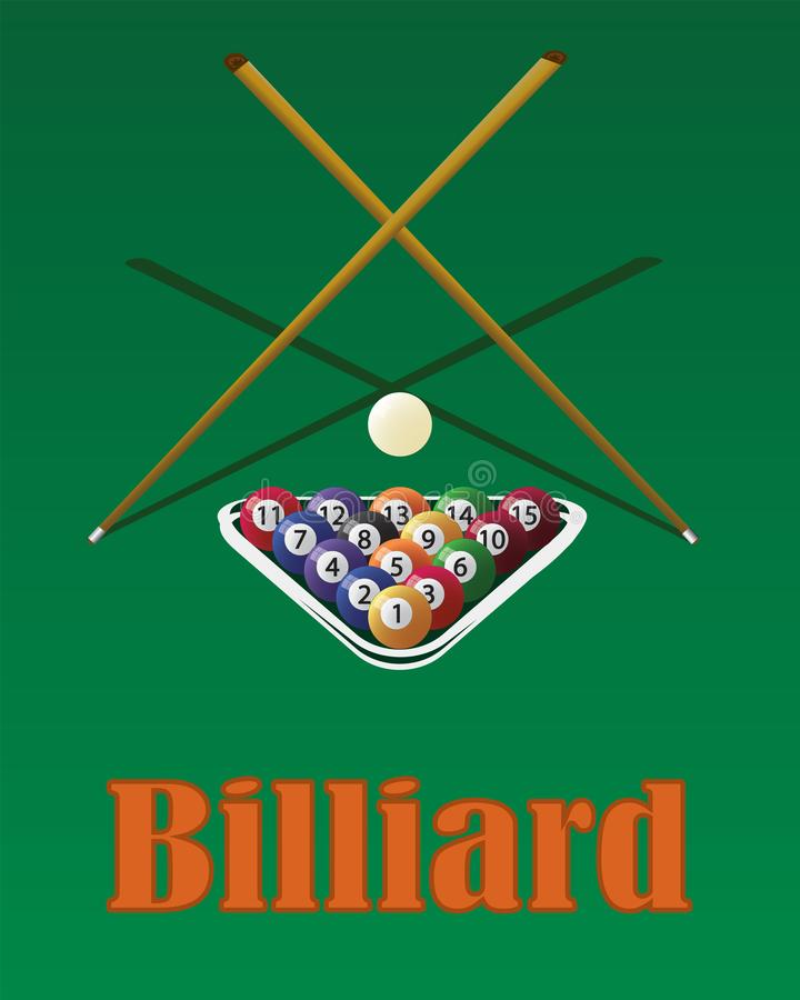 Billiard cue and pool balls on green table. While game. Biliard balls, triangle and pool stick for game on green table top view royalty free illustration