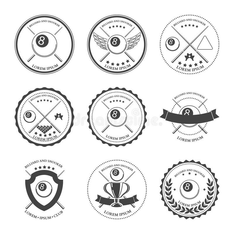 Billiard design elements and badges set. Vector. Illustration royalty free illustration