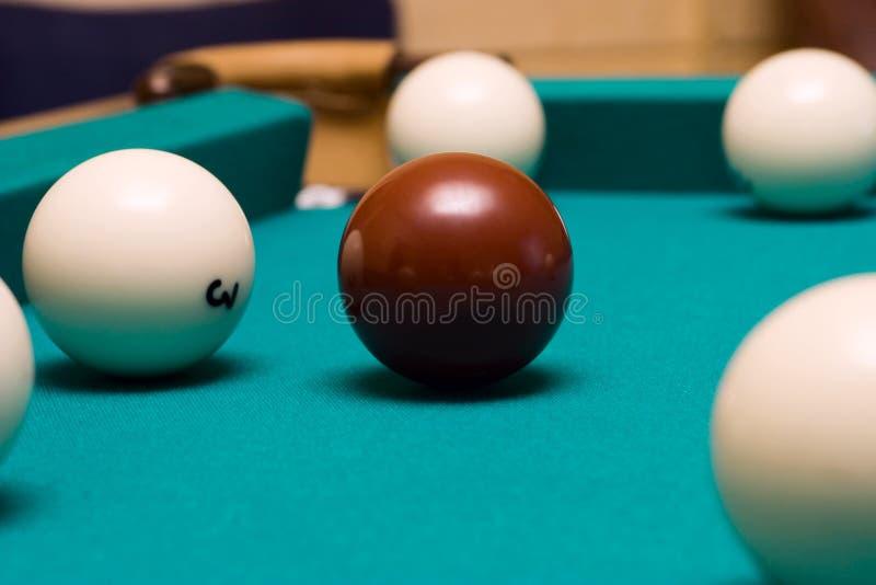 Billiard. Die rote Kugel. stockfoto