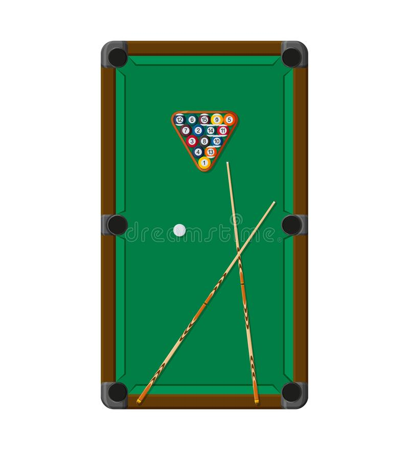 Billiard- eller snokerbakgrund Bra designmall för banret, kort, reklamblad Pöltabell, bollar och stickreplikpinne royaltyfri illustrationer