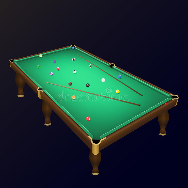 Billiard game balls position on a realistic pool table with cues. royalty free illustration