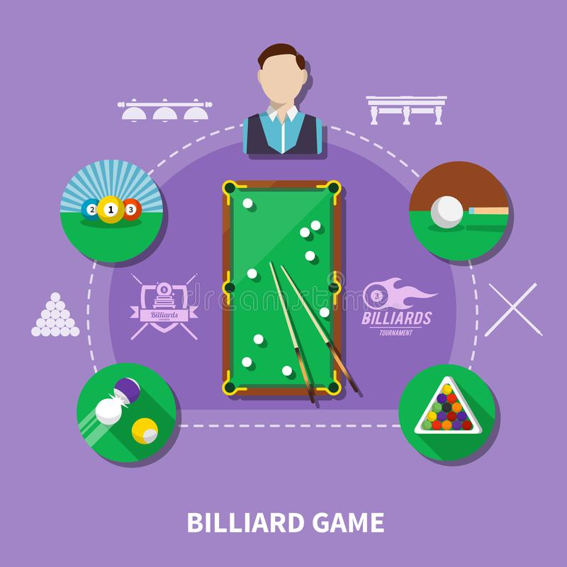 Billiard Game Composition royalty free illustration