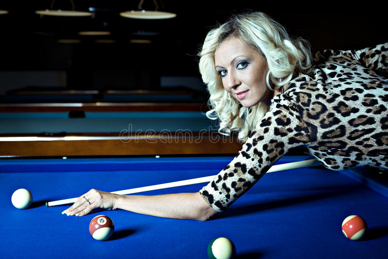 Billiard girl royalty free stock photography