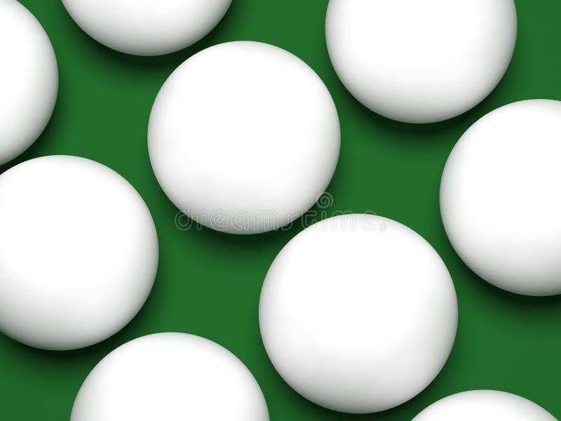 Billiard klumpa ihop sig närbild på en grön bakgrund 3d för att framföra royaltyfri illustrationer