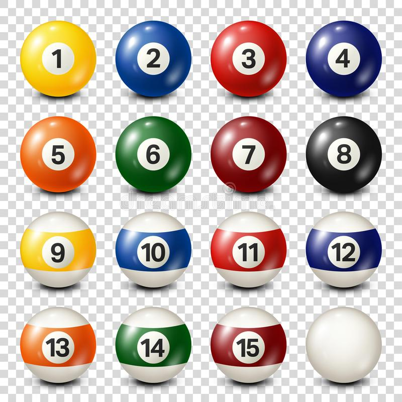 Free Billiard,pool Balls Collection For Snooker. Transparent Background. Vector Illustration. Royalty Free Stock Images - 135102219