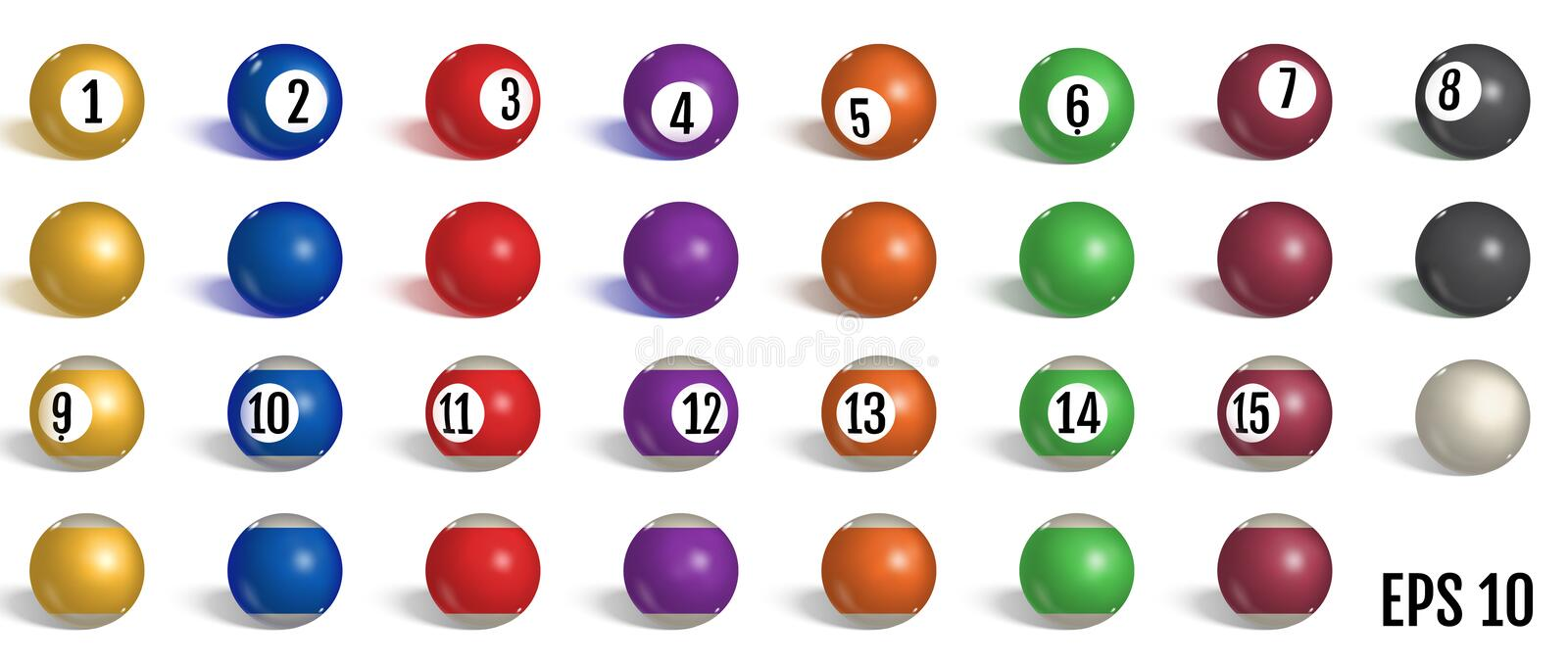Billiard, pool balls collection. Snooker. Realistic balls on white background. Vector illustration vector illustration