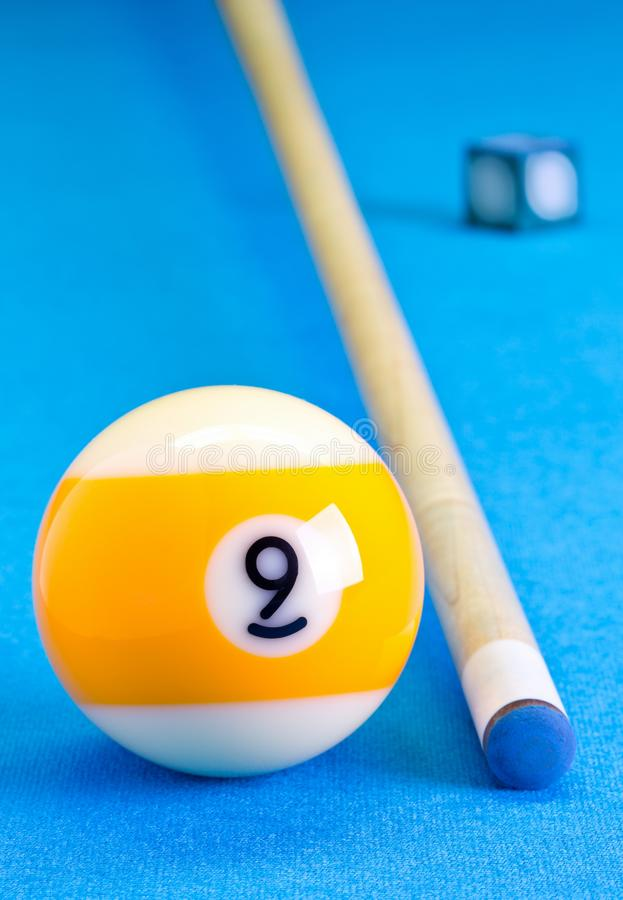 Free Billiard Pool Game Nine Ball With Chalk And Cue On Billiard Table Stock Photography - 107247482