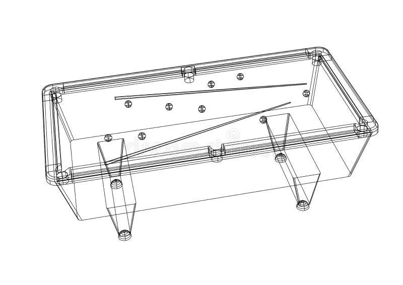 Billiard pool table 3D blueprint - isolated. Shoot of the billiard pool table 3D blueprint - isolated vector illustration