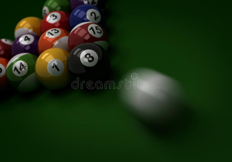 Billiard-Schuß lizenzfreie abbildung