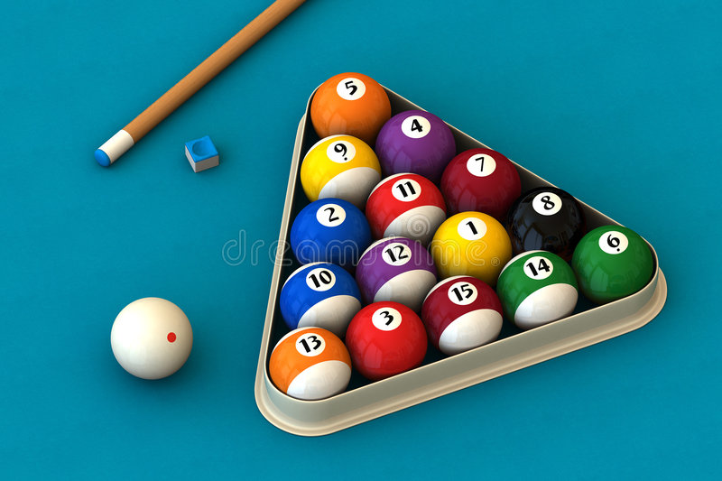 Download Billiard Set On Blue Stock Photography - Image: 2307932