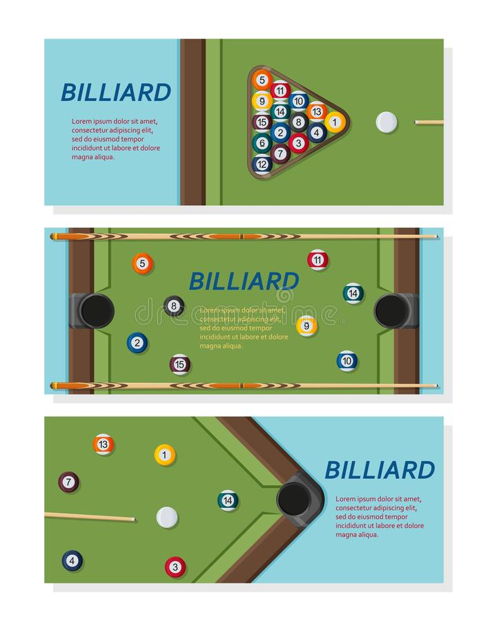 Billiard or snoker background. Good design template for banner, card, flyer. Pool table, balls and cue stick. Vector illustration stock illustration