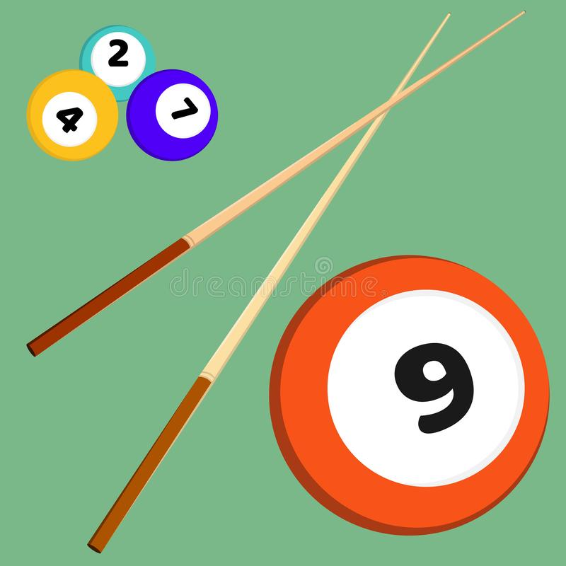 Billiard snooker elements balls with numbers and sticks. Colored vector illustration set royalty free illustration