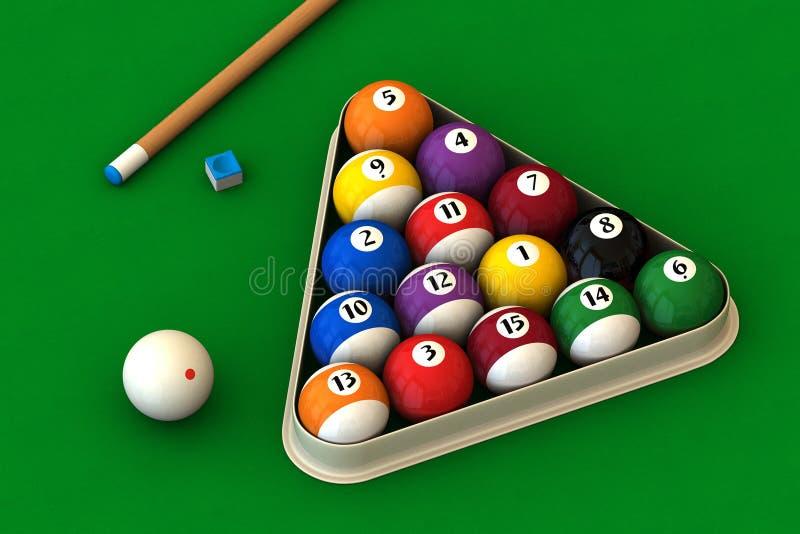 Billiard stellte auf Grün ein vektor abbildung