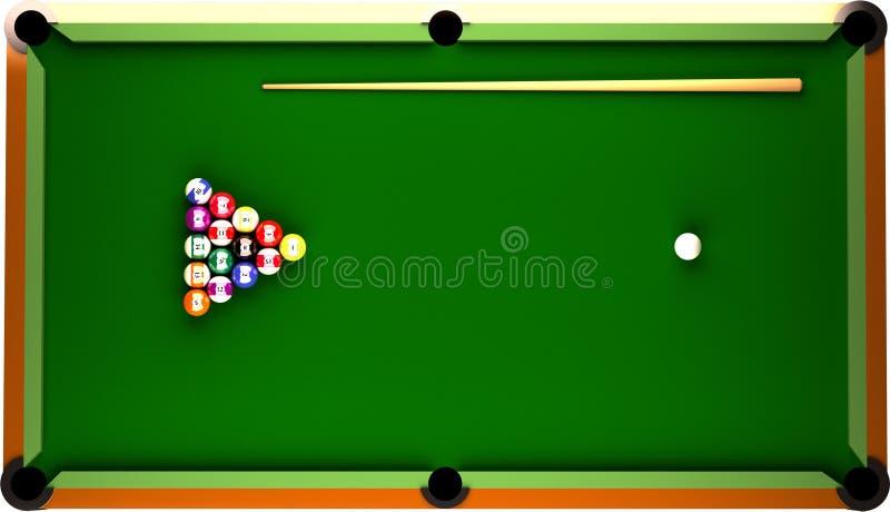 Billiard-Tabelle von der Oberseite. lizenzfreie abbildung
