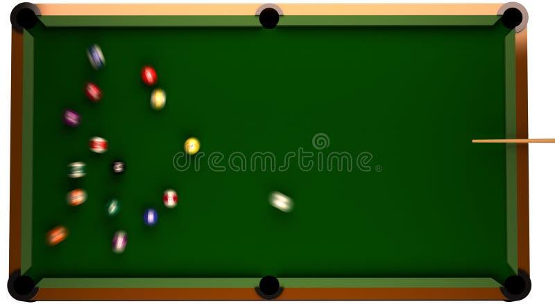 Billiard-Tabelle von der Oberseite mit Kugeln in der Bewegung. stock abbildung