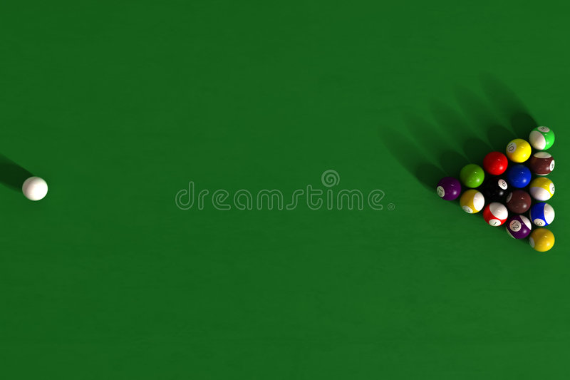 Billiard table with balls. Photorealistic 3d render royalty free illustration