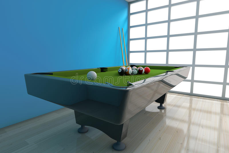 Billiard Table with Balls Set and Cue. 3d Rendering. Billiard Table with Balls Set and Cue in front of blue wall. 3d Rendering vector illustration