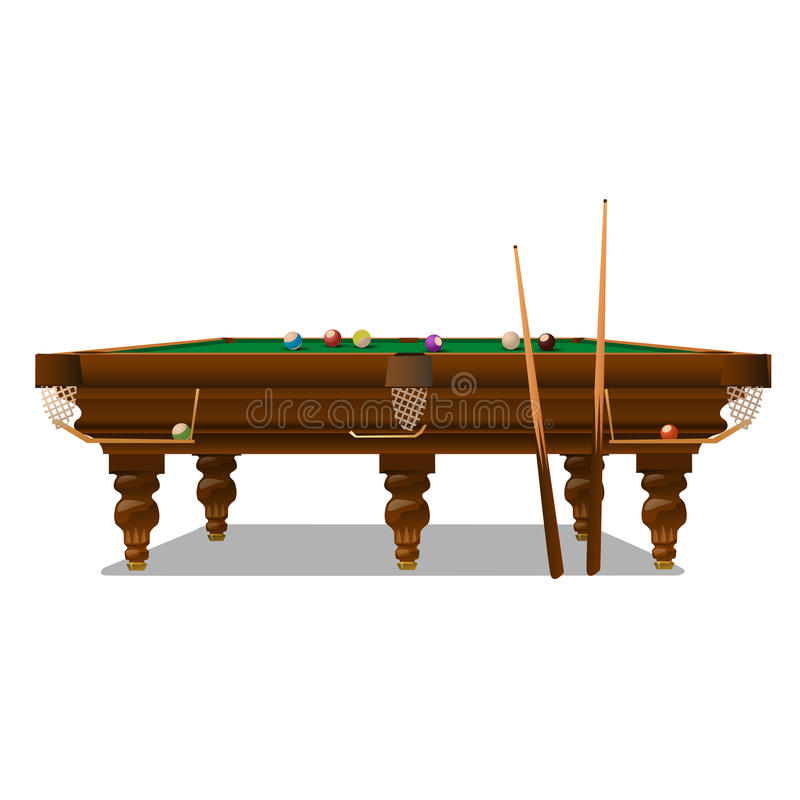 Billiard table with cues on a white background royalty free illustration