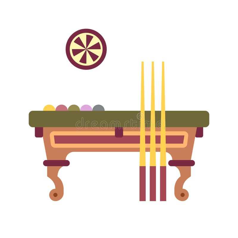 Billiard Table Flat Icon. Billiard table with darts game icon in flat color design vector illustration royalty free illustration