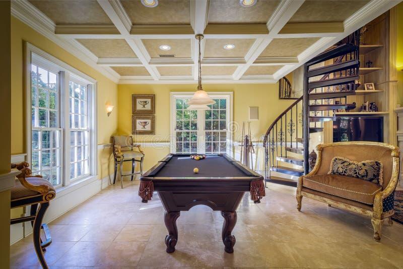 Billiard table in elegant room stock photos
