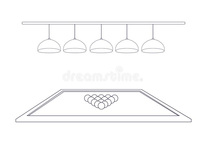 Billiard table with 5 illuminating lamps and triangle balls in the style of thin line outline. Five hanging ceiling chandeliers. Side view. Vector illustration stock illustration