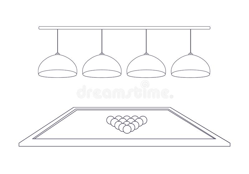 Billiard table with 4 illuminating lamps and triangle balls in the style of thin line outline. Four hanging ceiling chandeliers. Billiard table with royalty free illustration