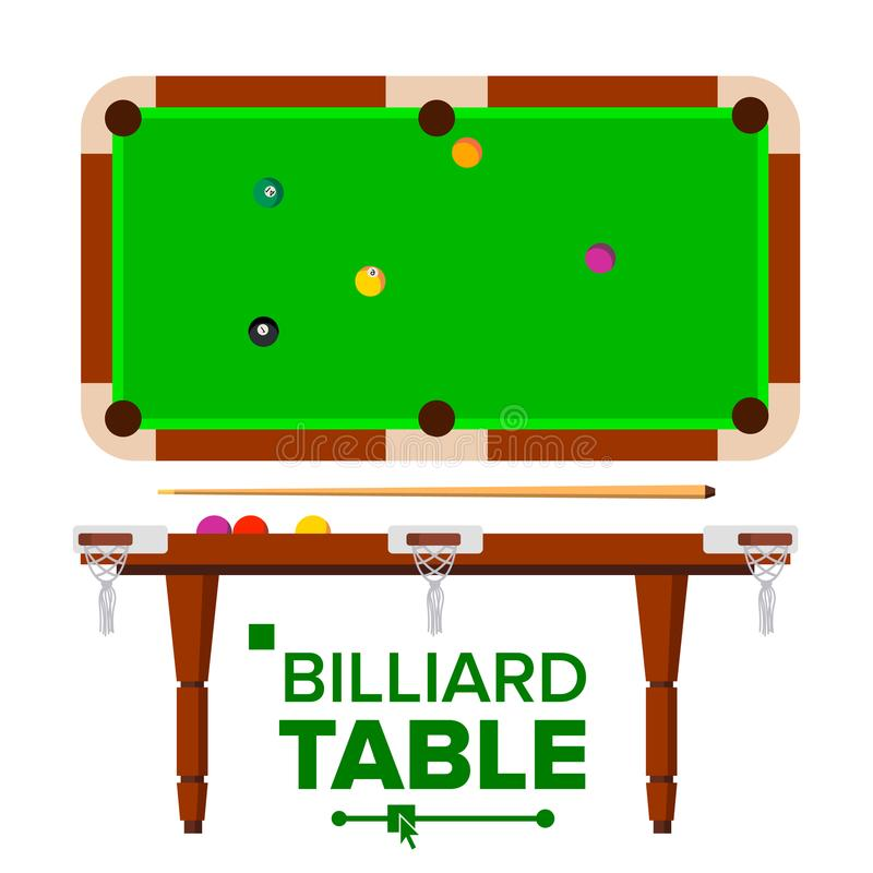 Billiard Table Vector. Top, Side View. Green Classic Pool, snooker Table. Isolated Flat Illustration stock illustration