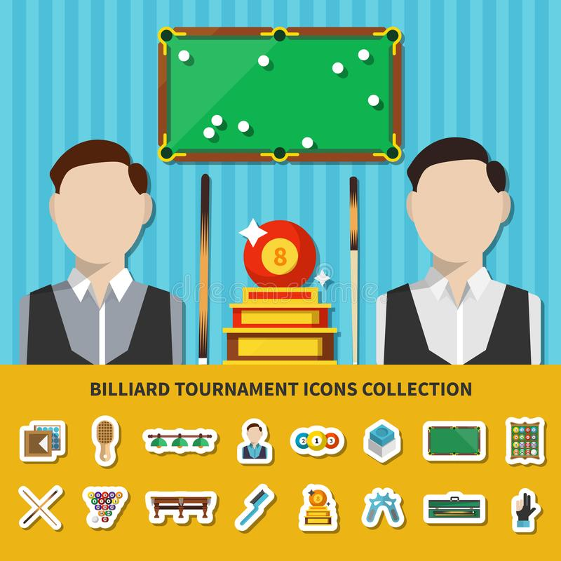Billiard Tournament Icons Collection royalty free illustration