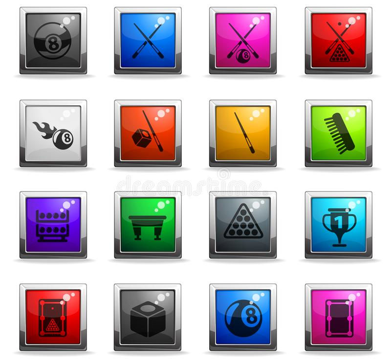 Billiard icon set. Billiard vector icons in square colored buttons stock illustration