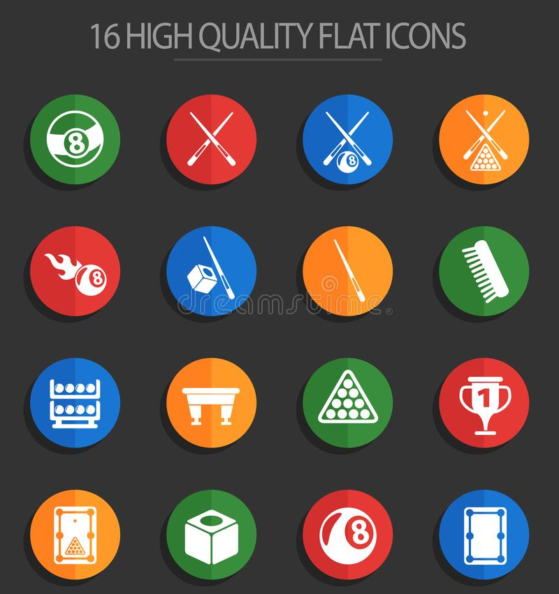 Billiard 16 flat icons. Billiard vector icons for web and user interface design stock illustration