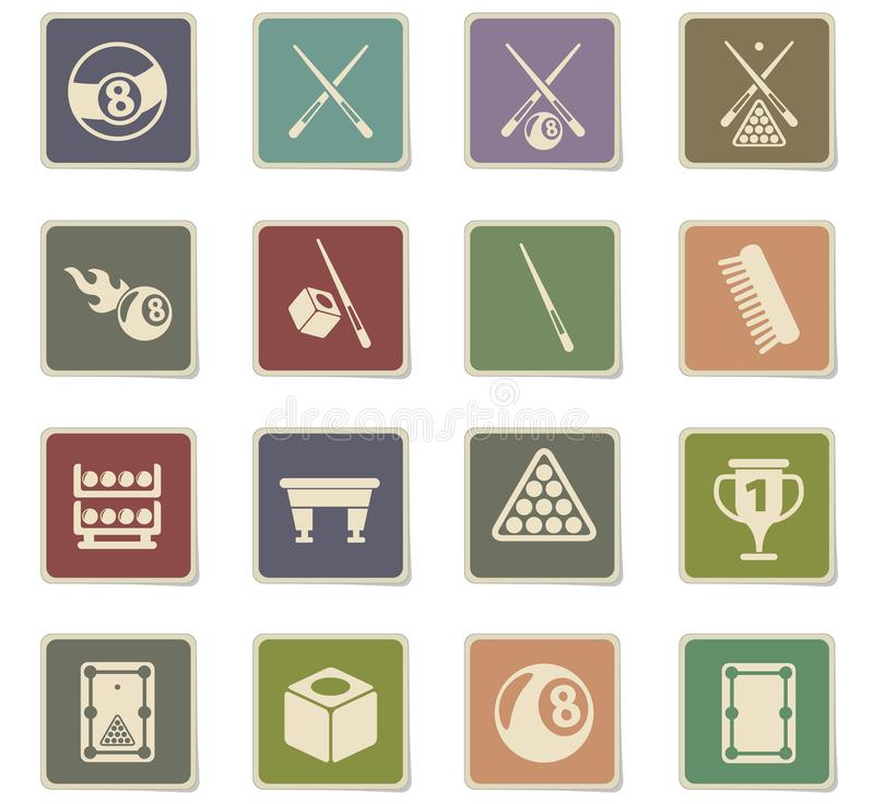 Billiard icon set. Billiard vector icons for web and user interface design stock illustration
