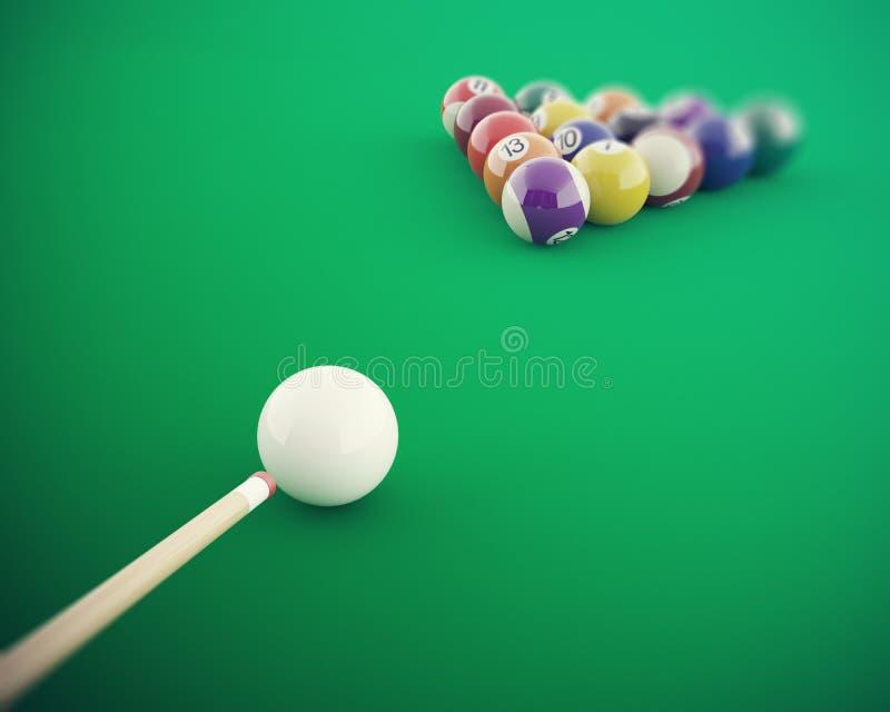 Billiardbollar, innan att slå på en grön billiardtabell hög upplösning för illustration 3d arkivbild