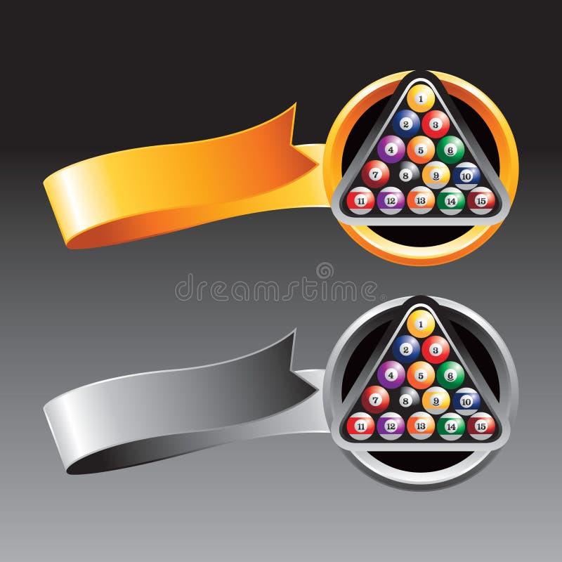 Billiardkugeln auf Gold und grauen Farbbändern lizenzfreie abbildung