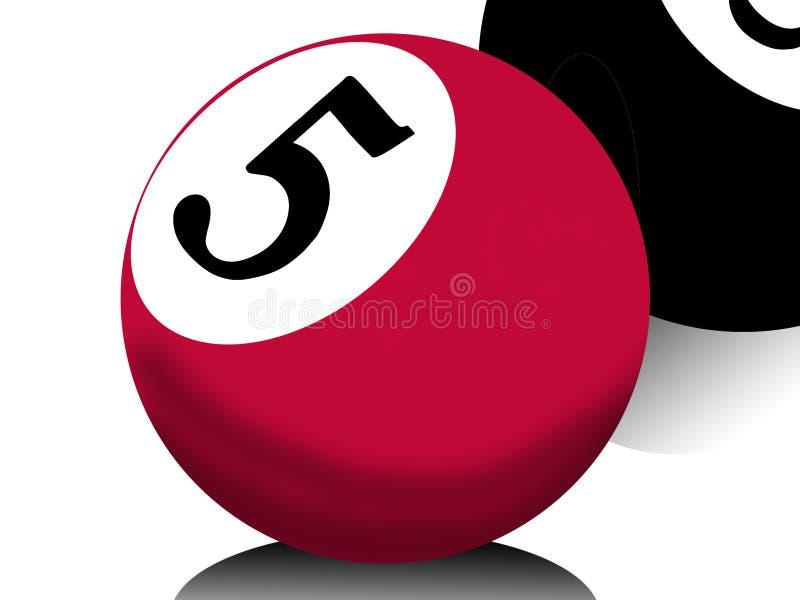 Billiards ball. Ball from billiards number five vector illustration