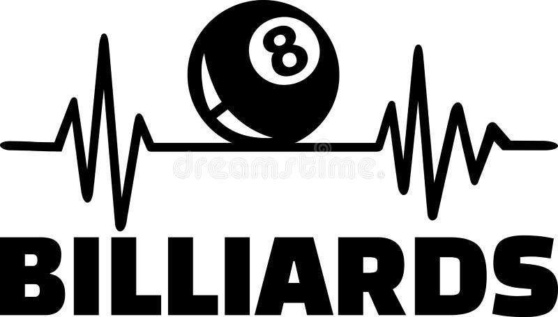Billiards bicie serca z słowem ilustracja wektor