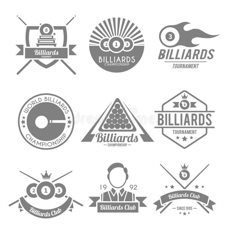 Billiards czerni etykietka ilustracji