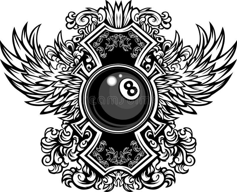 Billiards Eightball Ozdobny Graficzny Szablon royalty ilustracja