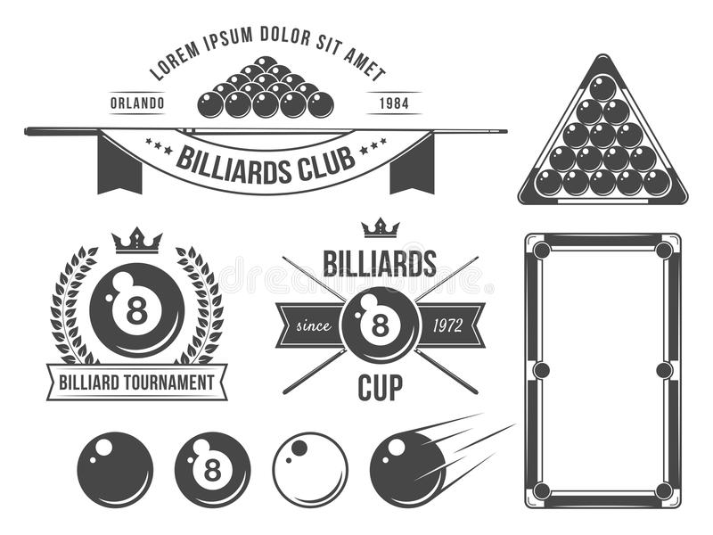 Billiards emblematy i akcesoria royalty ilustracja