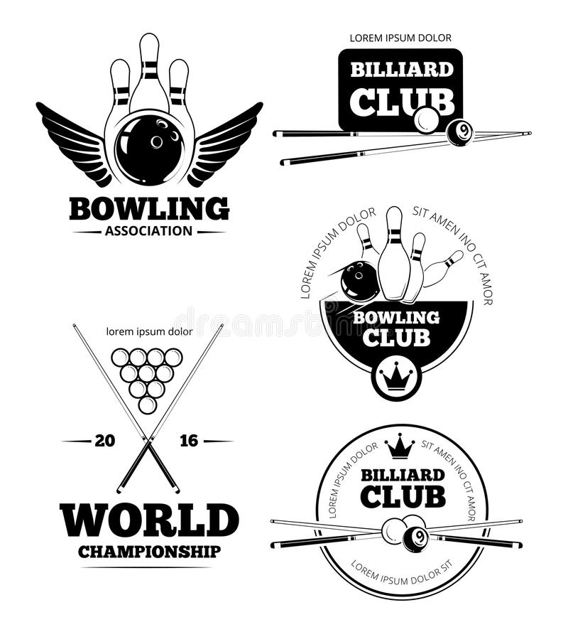 Billiards emblematy i kręgle wektorowe etykietki, emblemat odznaki ustawiać royalty ilustracja