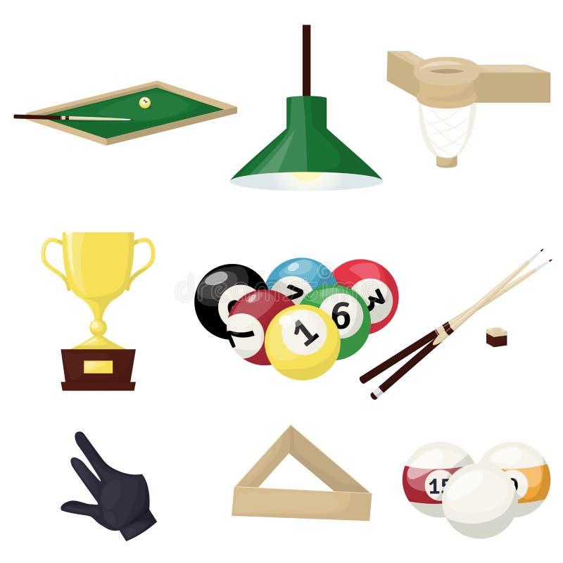 Billiards equipment hobby sport entertainment gamble player tools vector illustration. Snooker pool ball circle table. royalty free illustration